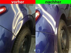 von Dellentechniker Volker Hörnig ausgebeulte Seitenwand